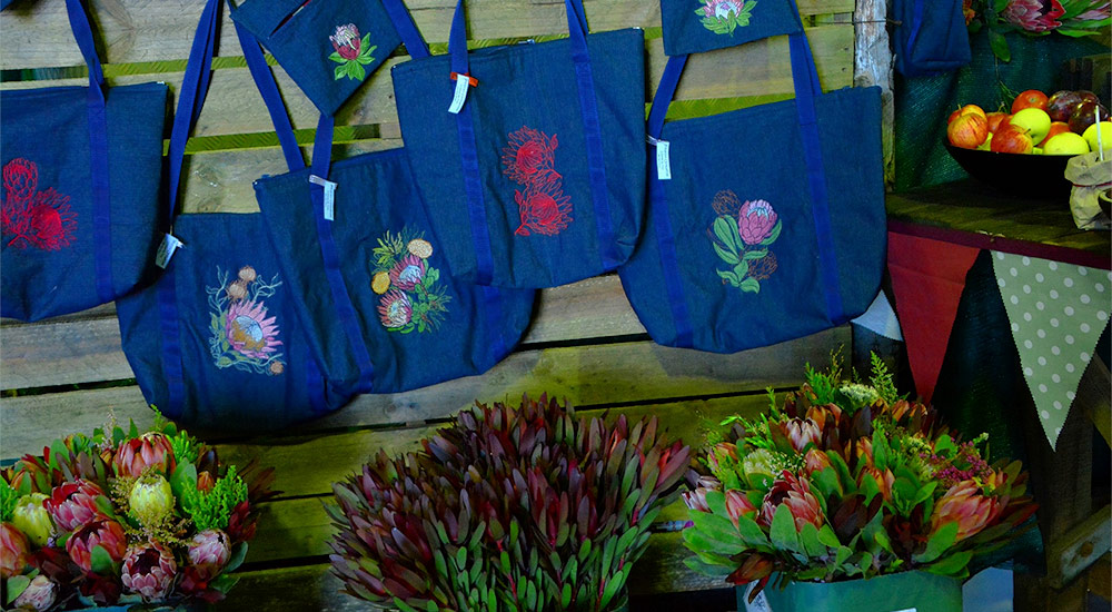 Protea bouquet and handmade carry bags