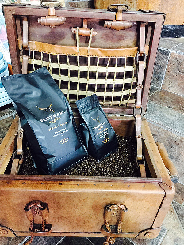 Brothers Coffee beans in antique display
